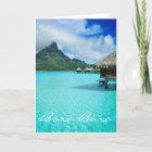 Overwater bungalows, Bora Bora greeting card