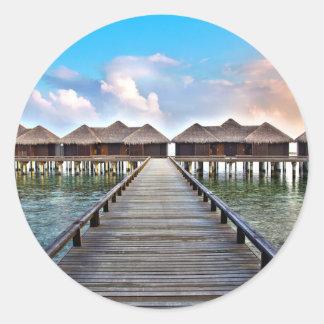Overwater Bungalows Classic Round Sticker