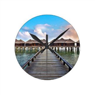 Overwater Bungalows Round Clock
