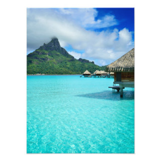 Overwater bungows in Bora Bora lagoon Photo Print