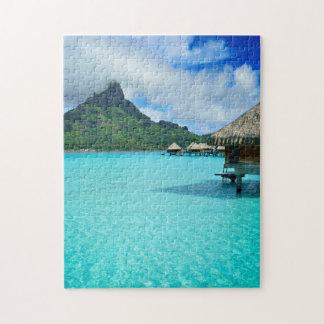 Overwater bungows in Bora Bora lagoon puzzle