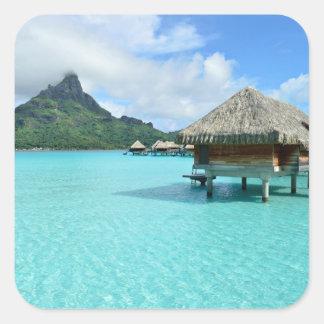 Overwater resort on Bora Bora Square Sticker