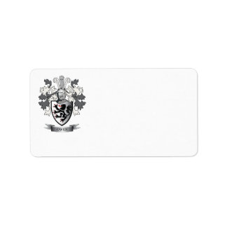 Owen Family Crest Coat of Arms Label