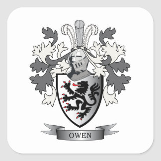 Owen Family Crest Coat of Arms Square Sticker