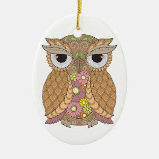 Owl 1 ceramic oval decoration