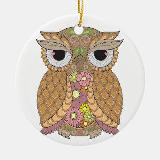 Owl 1 round ceramic decoration