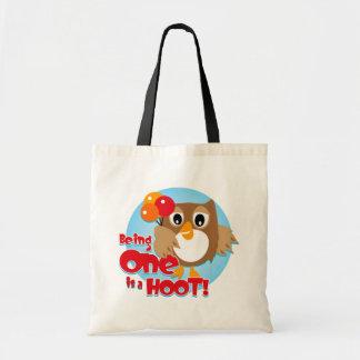 Owl 1st Birthday Canvas Bag