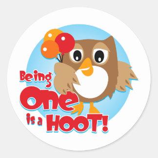 Owl 1st Birthday Round Sticker