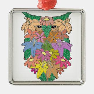Owl 2 Silver-Colored square decoration