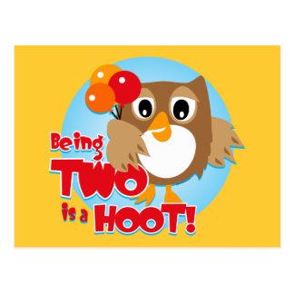 Owl 2nd Birthday Post Cards