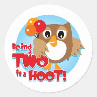 Owl 2nd Birthday Stickers