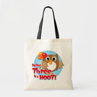 Owl 3rd Birthday Tote Bags