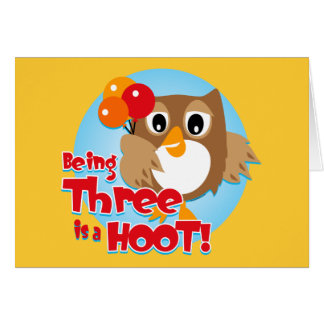 Owl 3rd Birthday Card