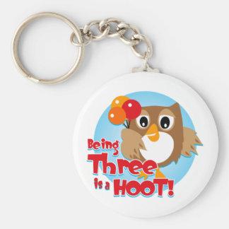 Owl 3rd Birthday Keychains
