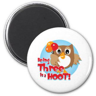 Owl 3rd Birthday Magnets