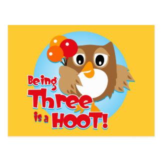 Owl 3rd Birthday Post Card