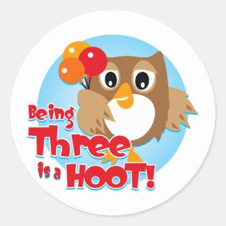 Owl 3rd Birthday Sticker