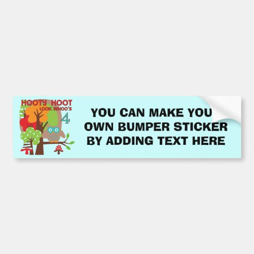 Owl 4th Birthday T shirts and Gifts Bumper Sticker