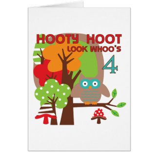 Owl 4th Birthday T shirts and Gifts Card