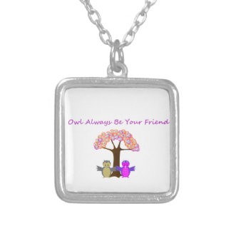 Owl Always Be Your Friend Silvr Plated Sq Necklace