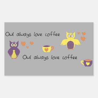 Owl Always Love Coffee Rectangular Sticker