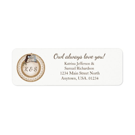 Owl Always Love You Casual Wedding Return Address Label