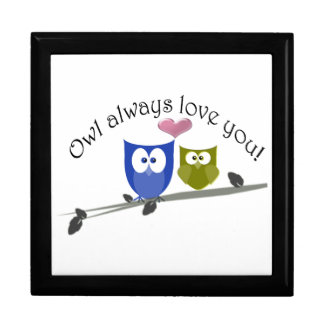 Owl always love you, cute Owls Art Large Square Gift Box