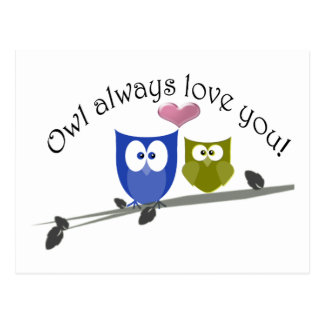 Owl always love you, cute Owls Art Postcard