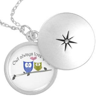 Owl always love you, cute Owls Art Round Locket Necklace
