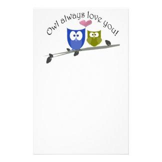 Owl always love you, cute Owls Art Custom Stationery