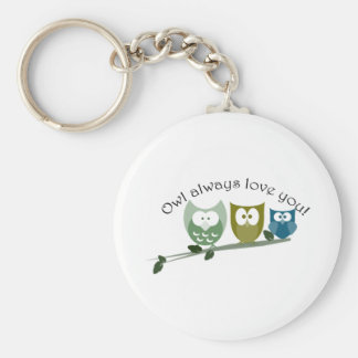 Owl always love you! Cute owls Basic Round Button Key Ring