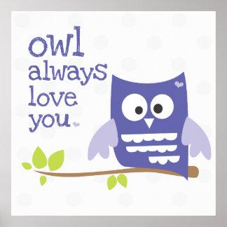 """owl always love you"" nursery wall art purple poster"