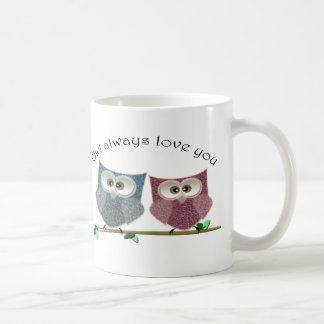 Owl always Love You, Pink and Blue Cute Owls Art Coffee Mug