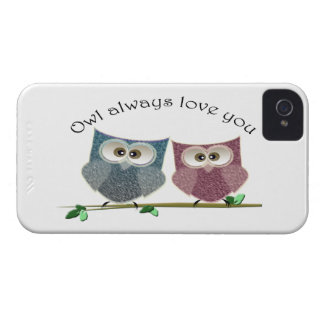 Owl always Love You, Pink and Blue Cute Owls Art iPhone 4 Case