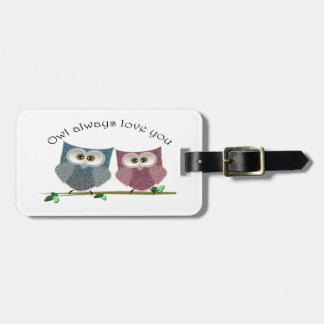 Owl always Love You, Pink and Blue Cute Owls Art Luggage Tag