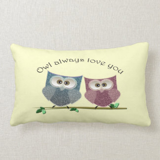 Owl always love you, Pink and Blue Owls Pillow Cushion