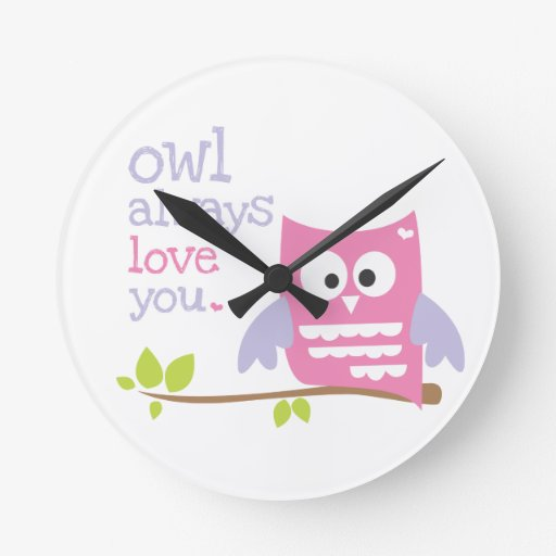 """owl always love you"" pink and purple owl clock"