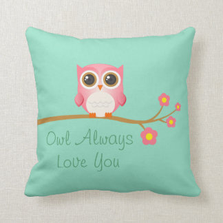 Owl Always Love You Pink Owl On Seafoam Pillow