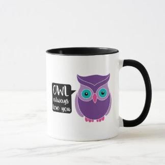 Owl Always Love You Sweet Purple Owl Cartoon Mug