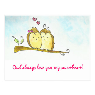 Owl always love you Valentine Postcard