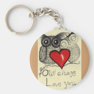 Owl always Love you... Whimsical keychain! Basic Round Button Key Ring