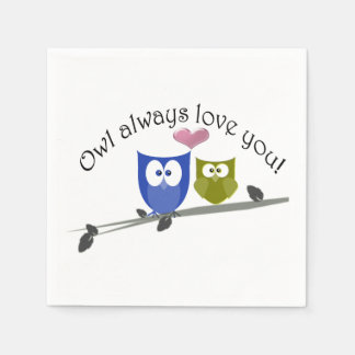 Owl Always Love You, White Paper Napkin
