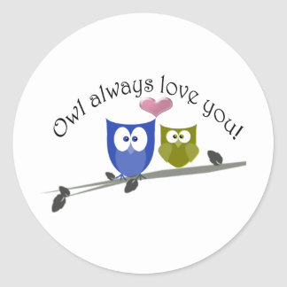 Owl always love you, with 3D heart Round Sticker