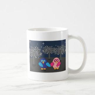 Owl amorously under the trees sulks coffee mug