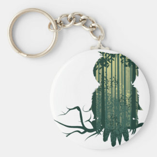 Owl and Abstract Forest Landscape2 Basic Round Button Key Ring