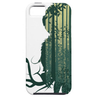 Owl and Abstract Forest Landscape2 Tough iPhone 5 Case