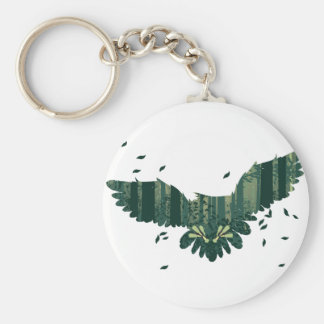 Owl and Abstract Forest Landscape Basic Round Button Key Ring