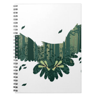 Owl and Abstract Forest Landscape Spiral Notebook