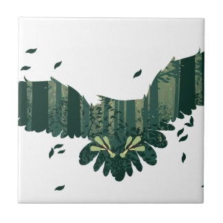 Owl and Abstract Forest Landscape Tile