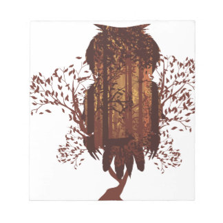 Owl and Autumn Forest Landscape2 Notepads